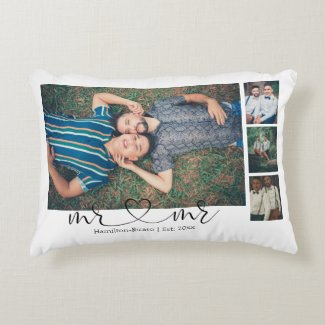 Personalized Photo Mr and Mr Heart Gay Wedding Accent Pillow