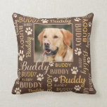 "Personalized Photo Names | Brown Dog Pillow<br><div class=""desc"">Brown Personalized throw pillow for your dog. Customizable with your dog or cat photo image with your dog or cat's name. When you change the name Buddy to your own pet's name it will change all the typographical names at the same time. Word cloud art typography. Different font type and...</div>"
