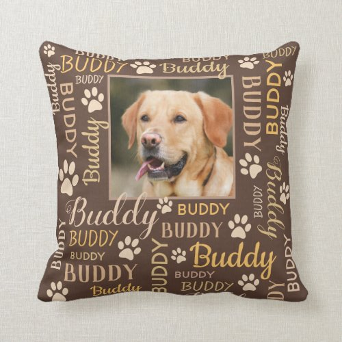 Personalized Photo Names   Brown Dog Pillow