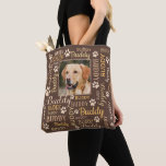 "Personalized Photo Names | Brown Dog Tote Bag<br><div class=""desc"">Brown Personalized gift of or for your dog. Customizable with your dog or cat photo image with your dog or cat's name. When you change the name Buddy to your own pet's name it will change all the typographical names at the same time. Word cloud art typography. Different font type...</div>"