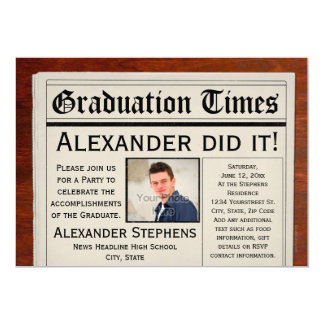 Personalized Photo Newspaper Graduation Party 5x7 Paper Invitation Card