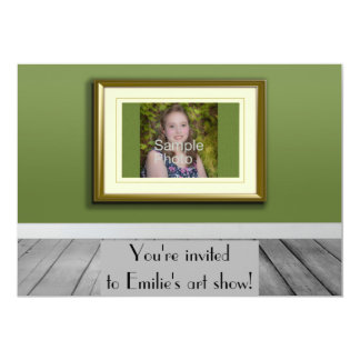 Personalized Photo Olive Green Photo Art Show Card