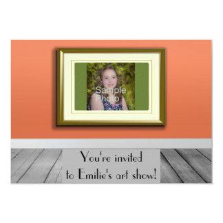 Personalized Photo Orange Photo Frame Art Show Personalized Invites