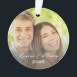 "Personalized Photo Ornament | Couple&#39;s Monogram<br><div class=""desc"">Personalized photo Christmas ornament keepsake for a newly engaged or married couple with custom text for names and the year. Features a photo and monogram on the front and back.</div>"