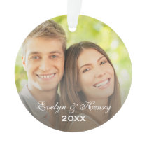 Personalized Photo Ornament | Couple's Monogram