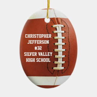Personalized Photo Oval Football Sports Ornament