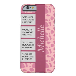 Personalized Photo Pink Animal Print Barely There iPhone 6 Case
