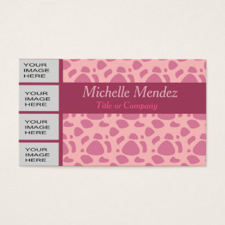 Personalized Photo Pink Animal Print Business Card
