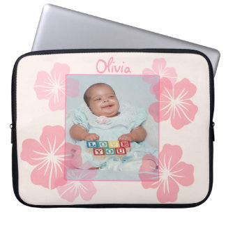 Personalized Photo Pink Floral Computer Sleeve