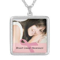 Personalized Photo Pink Ribbon Breast Cancer Silver Plated Necklace