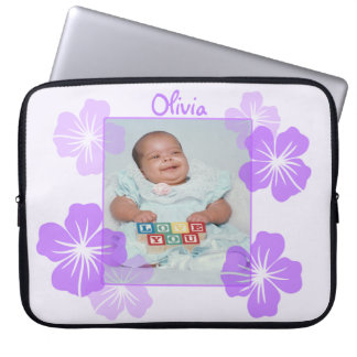 Personalized Photo Purple Floral Laptop Sleeve