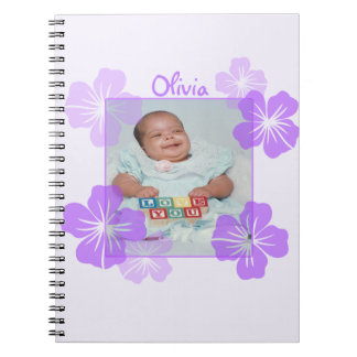 Personalized Photo Purple Floral Notebook
