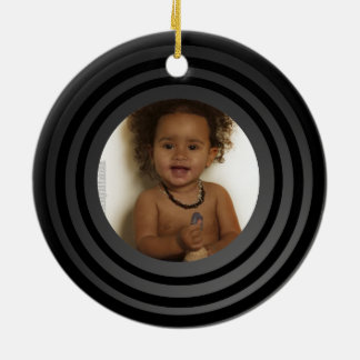 Personalized Photo Retro Vinyl Album Keepsake Ceramic Ornament