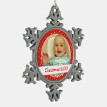 Personalized Photo Snowflake Red Ornaments