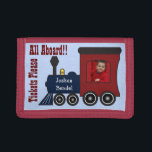 """Personalized Photo Steam Train Choo Choo Wallet<br><div class=""""desc"""">This is a fun wallet for train crazy kids! Add a photo of your child to make it look like they are riding the train. You can also personalize the wallet with their name. The text reads &quot;All Aboard&quot; and &quot;Tickets Please&quot;. To resize or reposition the photo, click on the...</div>"""