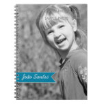 Personalized Photo Teal Blue Banner Custom Name Note Book