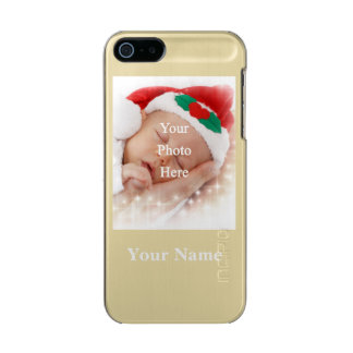 Personalized photo template and name metallic phone case for iPhone SE/5/5s