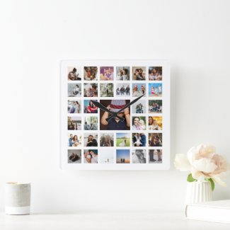 Personalized Photo Template Collage Square Wall Clock