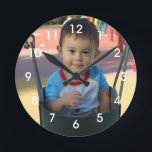 "Personalized Photo Wall Clock<br><div class=""desc"">Personalize this clock with your own photo.  You can also add text.  Click on the Customize It button to resize or position your photo.  Please message me with any questions.  I also have other color clock numbers such as black and blue that may better suit your photo.</div>"