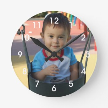 Personalized Photo Wall Clock by DaisyPrint at Zazzle