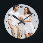 "Personalized photo wall clock. Make your own! Round Clock<br><div class=""desc"">Personalized photo wall clock. Make your own! Easily create your own personalized photo wall clock. Change image with your  photo. Customize it to add your text. DIY,  CYO</div>"