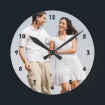 """Personalized photo wall clock. Make your own! Round Clock<br><div class=""""desc"""">Personalized photo wall clock. Make your own! Easily create your own personalized photo wall clock. Change image with your  photo. Customize it to add your text. DIY,  CYO</div>"""