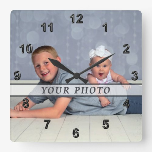 Personalized Photo Wall Clock Square or Round Square Wall Clock