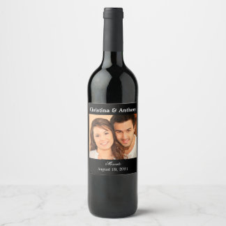 Personalized Photo Wedding Wine Favor Label