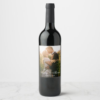 Personalized Photo Wedding Wine Label