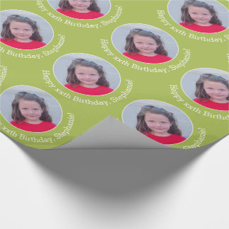 Personalized Photo with Birthday Greeting - Green Wrapping Paper