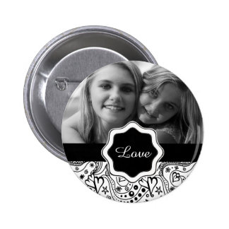 Personalized Photo with Hearts Love Doodle Pattern Button