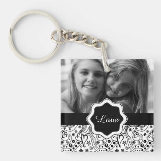 Personalized Photo with Hearts Love Doodle Pattern Keychain