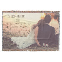 Personalized photo with quote throw
