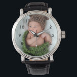 "Personalized Photo Wrist Watch<br><div class=""desc"">Upload a photo of your baby,  grandchild or family to create a personalized watch.  These watches also make great gifts for new mom and dads,  or grandparents.</div>"