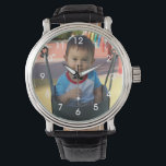 """Personalized Photo Wrist Watch<br><div class=""""desc"""">Upload a photo of your baby,  grandchild or family to create a personalized watch.  These watches also make great gifts for new mom and dads,  or grandparents.</div>"""