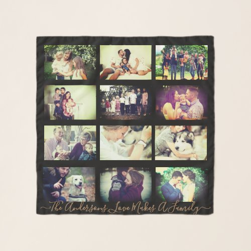 Personalized photo x12 and text scarf