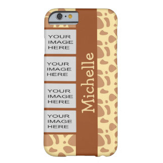 Personalized Photo Yellow Animal Print Barely There iPhone 6 Case