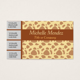 Personalized Photo Yellow Animal Print Business Card