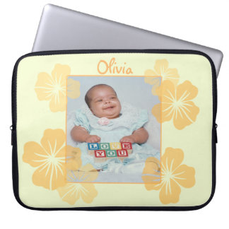 Personalized Photo Yellow Floral Laptop Sleeves
