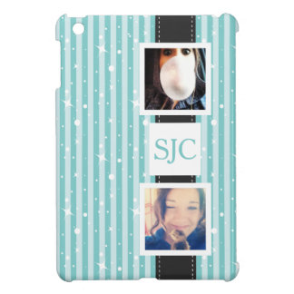 Personalized Photos and Initials Girly Stripes iPad Mini Cases