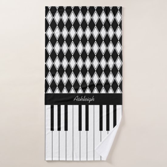 Personalized Piano Keys and Diamonds Bath Towel Set