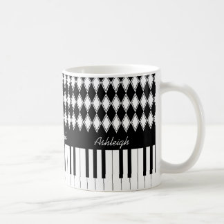 Personalized Piano Keys and Diamonds Coffee Mug