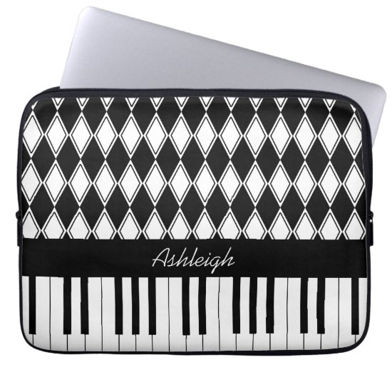 Personalized Piano Keys and Diamonds Computer Sleeve
