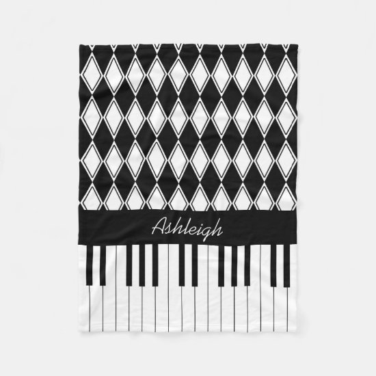 Personalized Piano Keys and Diamonds Fleece Blanket