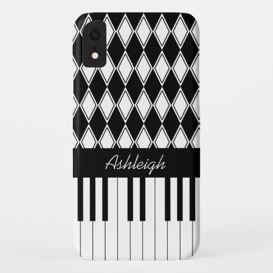 Personalized Piano Keys and Diamonds iPhone XR Case