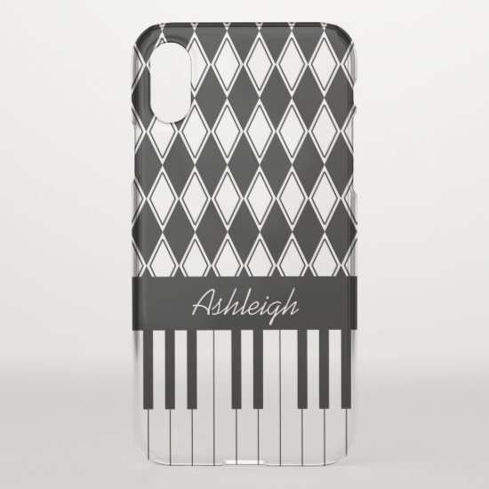Personalized Piano Keys and Diamonds iPhone XS Case