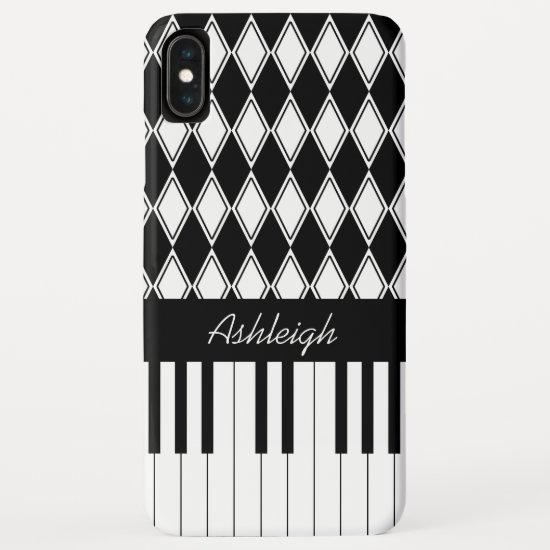 Personalized Piano Keys and Diamonds iPhone XS Max Case