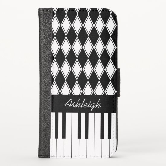 Personalized Piano Keys and Diamonds iPhone XS Wallet Case