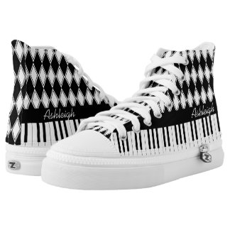 Personalized Piano Keys and Diamonds Printed Shoes