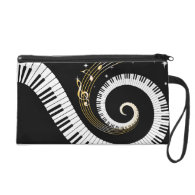 Personalized Piano Keys and Gold Music Notes Wristlet Purses